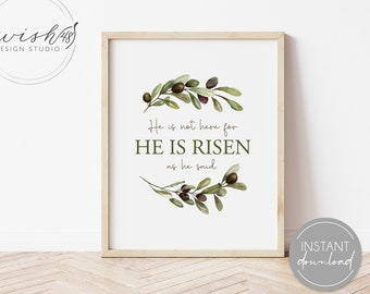 He Is Risen Print, Easter Printable, Easter Decor, He Is Risen Quote, LDS Poster, Christian Quote, Christian Art, Easter Wall Art