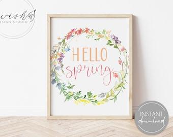 Hello Spring Print, Spring Printable, Spring Home Decor, Spring Wall Art, Home Decor Printable, Watercolor Floral Print, Easter Printable