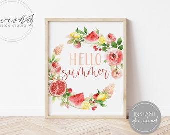 Hello Summer Print, Summer Printable, Summer Home Decor, Summer Wall Art, Home Decor Printable, Watercolor Floral Print, Summer Printable