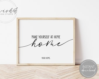 Make Yourself At Home Print, Unwelcome Print, Introvert Wall Art, Anti Social Humor, Funny Wall Art, Home Wall Art, Printable Home Decor