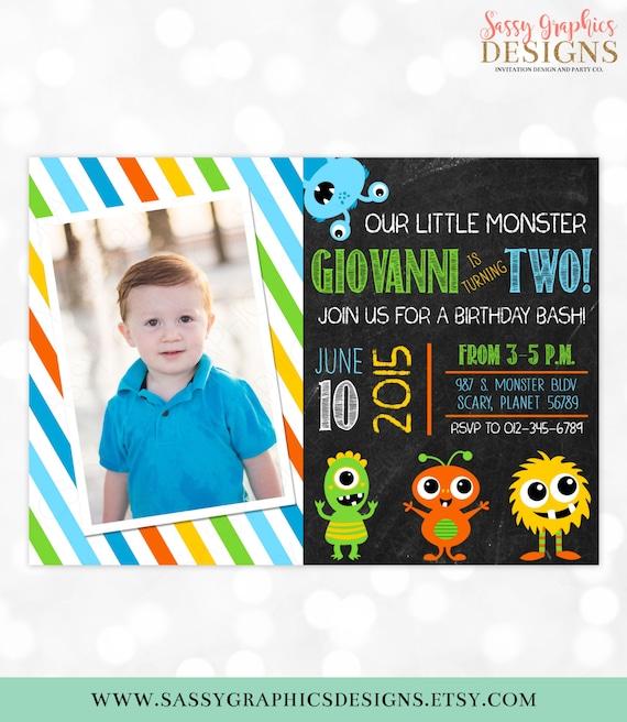 Monster Birthday Invitation Little Monster 1st Birthday Blue Green