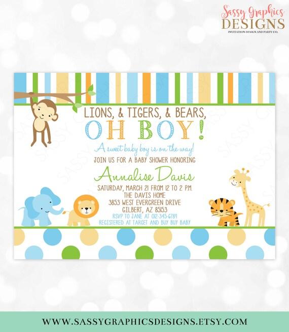 Safari Baby Shower Invitation Jungle Invitations Wild Baby Shower