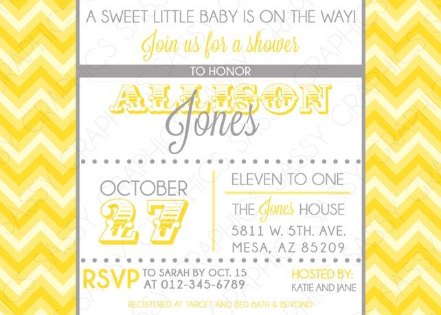 Boys Baby Shower Invitation Chevron Yellow Gray Modern