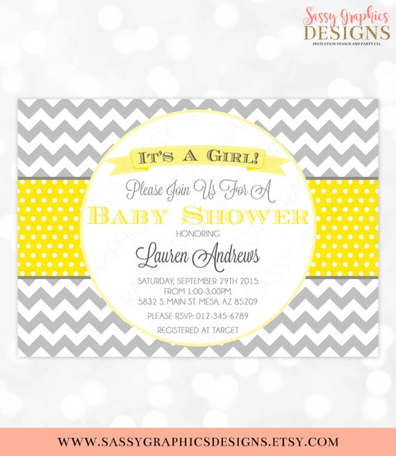 Baby shower invitation girl yellow gray invite chevron polka etsy image 0 filmwisefo