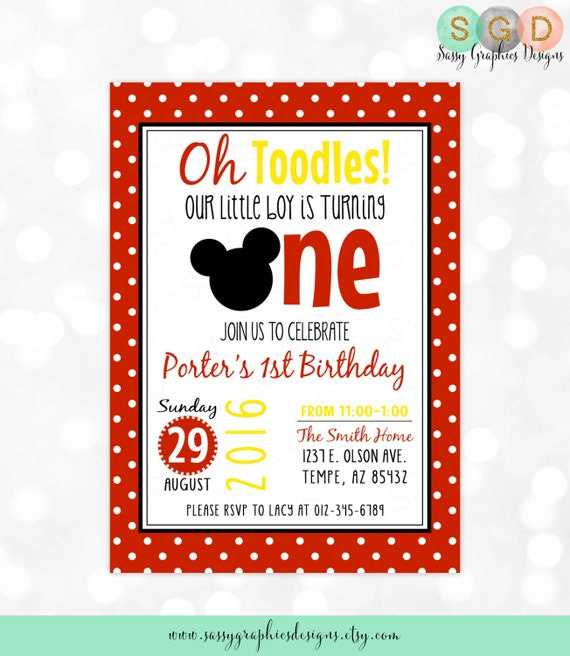 Oh Toodles Birthday Invitation Boy Invite Red Polka Dot First Mickey Mouse Printable Digital PDF Item 1