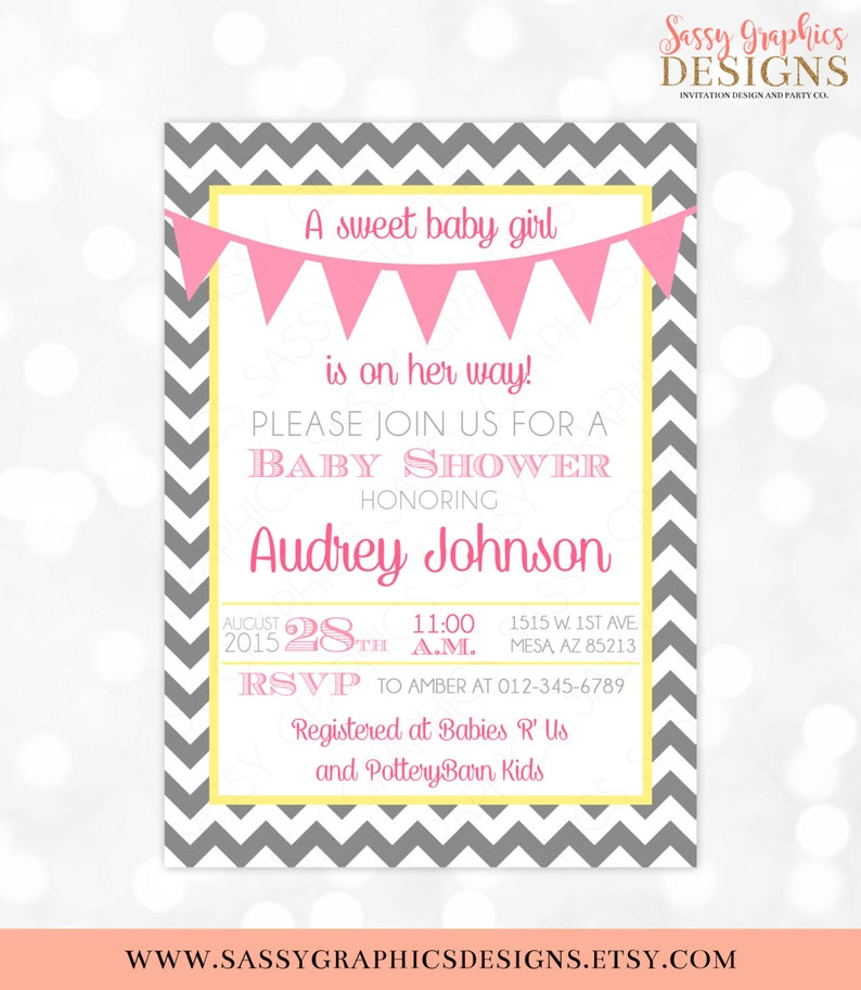 14be1a5ff471 Baby Girl Shower Invitation Baby Girl Gray Chevron Pink Yellow