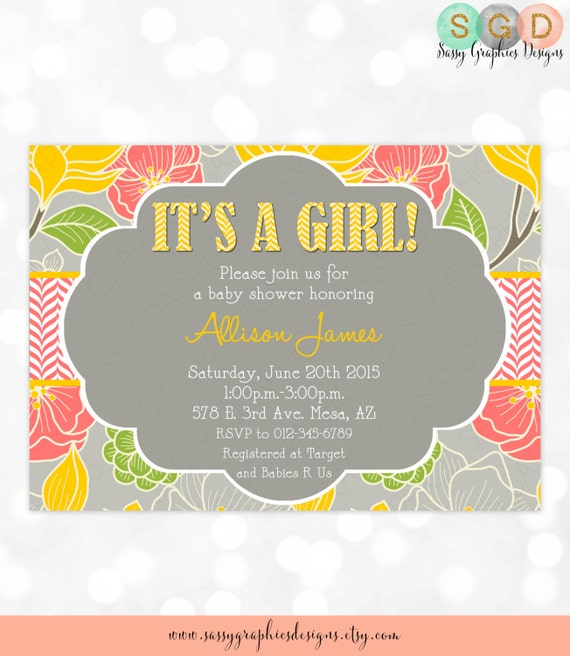 Girl baby shower invitation its a girl floral chevron etsy image 0 filmwisefo