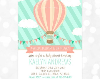 Hot Air Balloon Baby Shower Invitation Mint Coral Baby Shower Invitation Girl Whimsical Invitation DIY Printable Invite PDF (# 171)