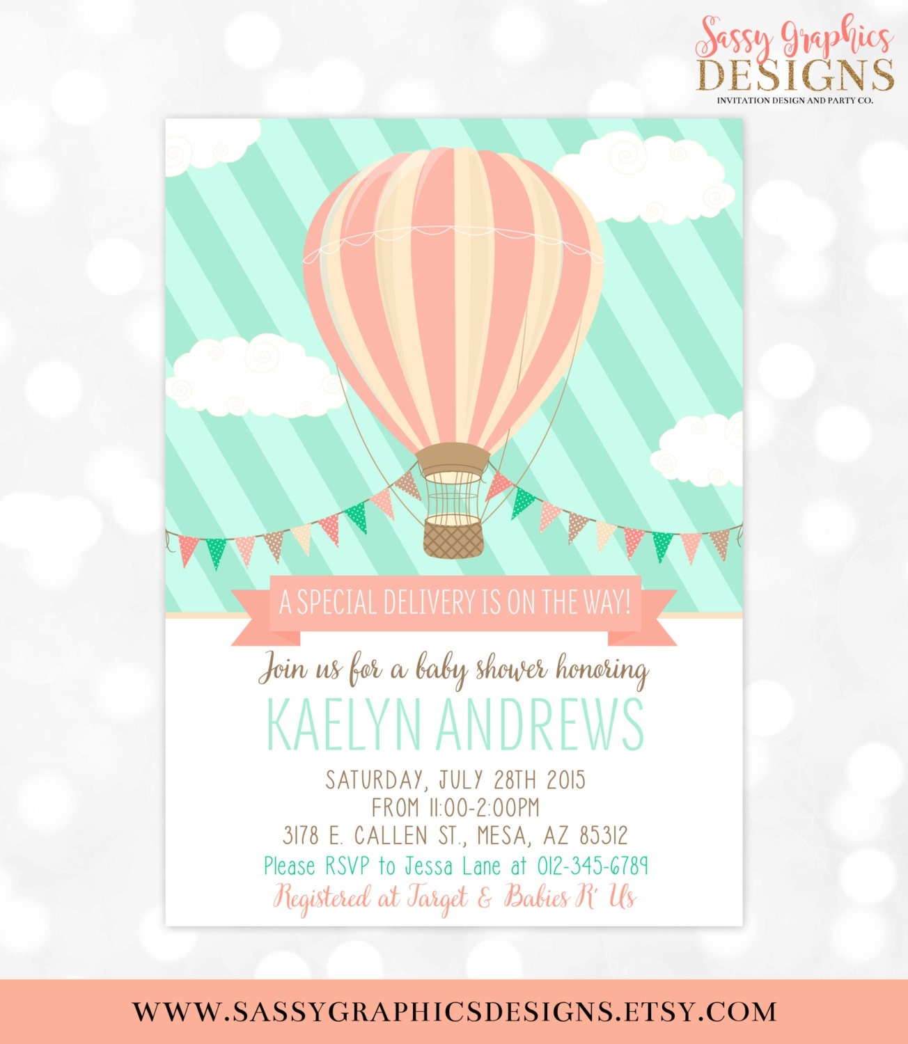 Hot Air Balloon Baby Shower Invitation Mint Coral Baby Shower Etsy