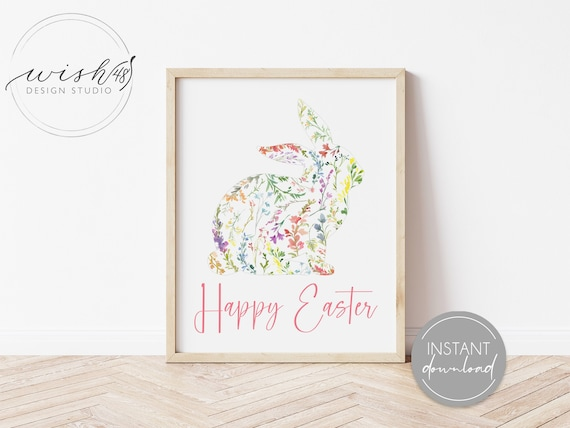 Happy Easter decor Instant download file of Easter party decor. Easter printable for playroom decor