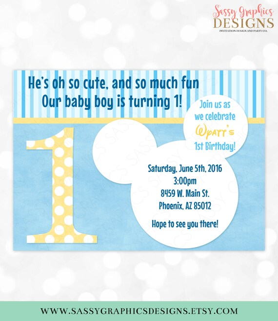 1st Birthday Mickey Mouse Invitation Baby Oh Toodles First Blue Stripes Polka Dots DIY Printable Invite PDF 1