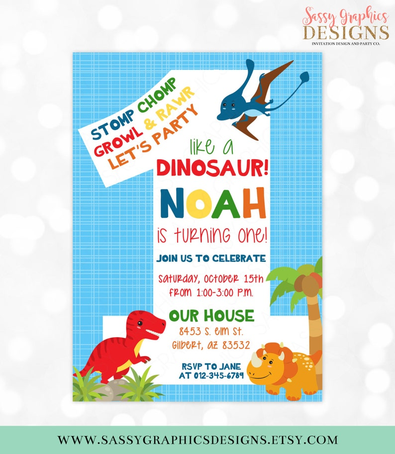 Dinosaur Birthday Invitation Dino Party 1st T Rex Boy