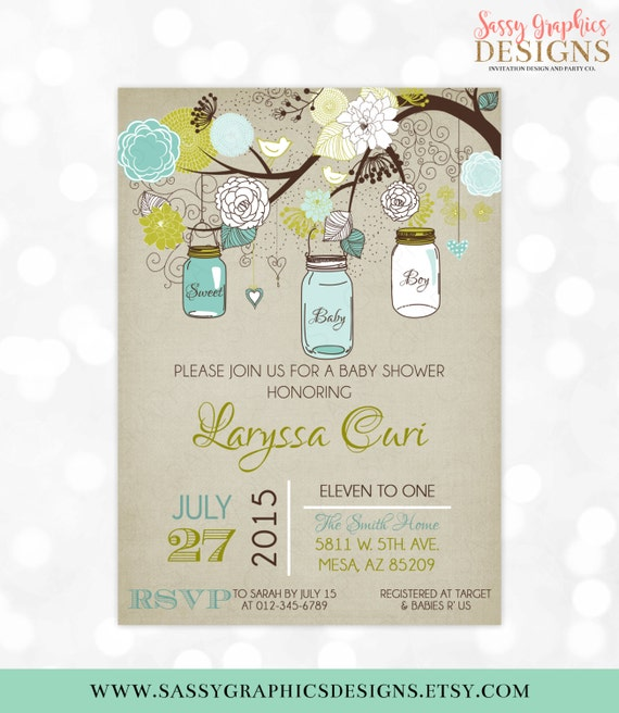 Mason jars baby shower invitation baby boy invite blue green etsy image 0 filmwisefo