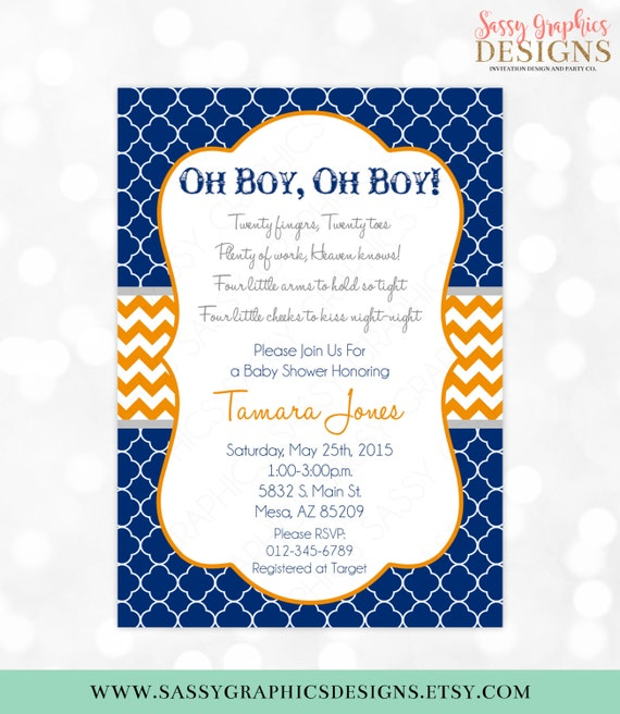 Twins Baby Shower Invitation Baby Boys It S Twins Chevron Oh Baby