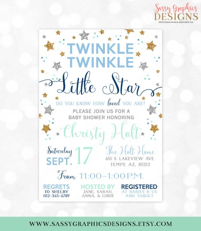 Twinkle Twinkle Little Star Baby Dusche Einladung Baby Boy   Etsy
