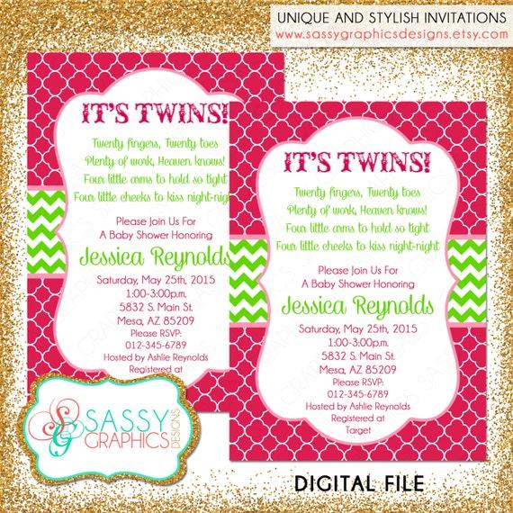 Twin baby shower invitation twin girls invite baby shower etsy image 0 filmwisefo