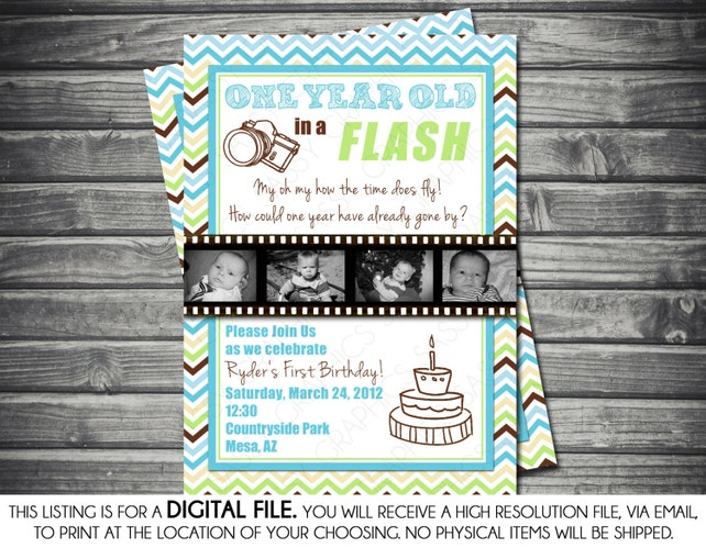 One Year In A Flash Photo Boy Birthday Invitation