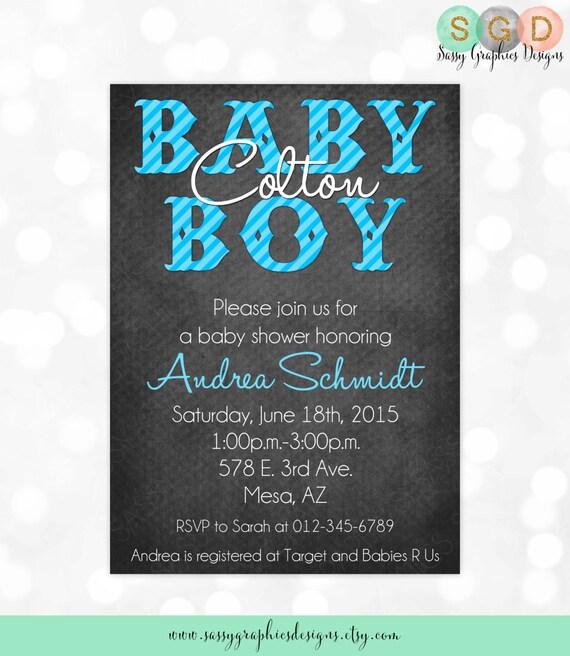 Boy Baby Shower Invitation Baby Boy Blue Gray Rustic Stripes Etsy