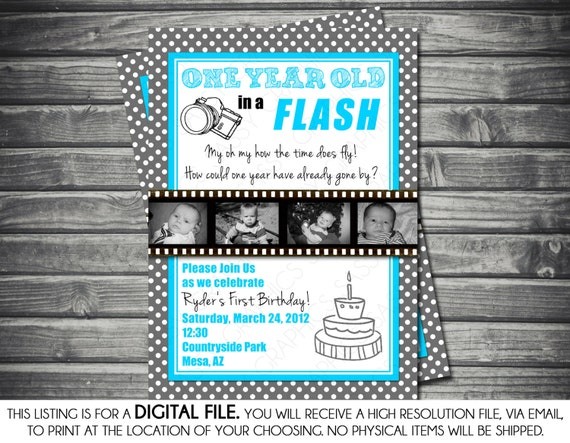 One Year In A Flash Photo Boy Birthday Invitation Polka
