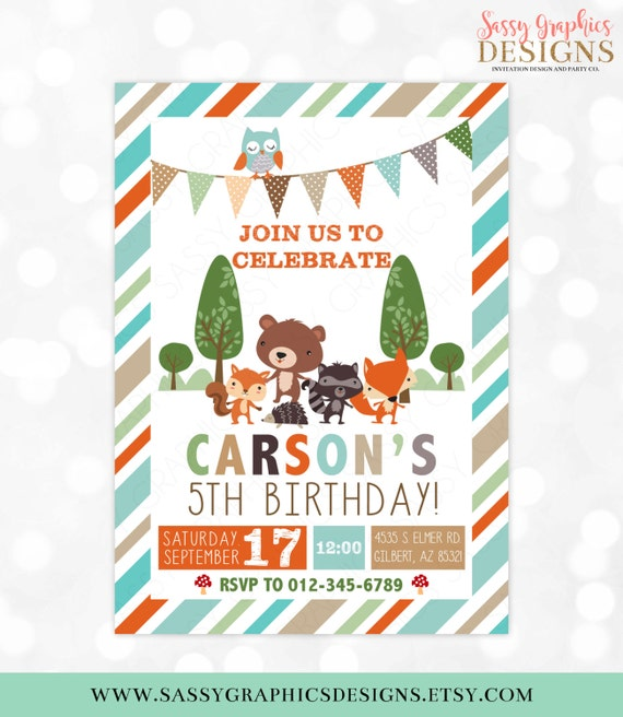Woodland Birthday Invitation Boy Invite Kids Party Fox Bear Beaver Owl DIY Printable PDF 3