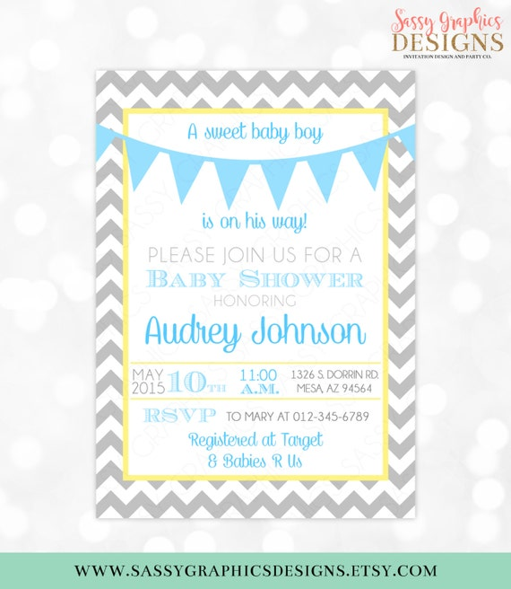image regarding Free Printable Chevron Banner Minecraft identified as Little one Boy Shower Invitation Grey Chevron Blue Yellow Pennant