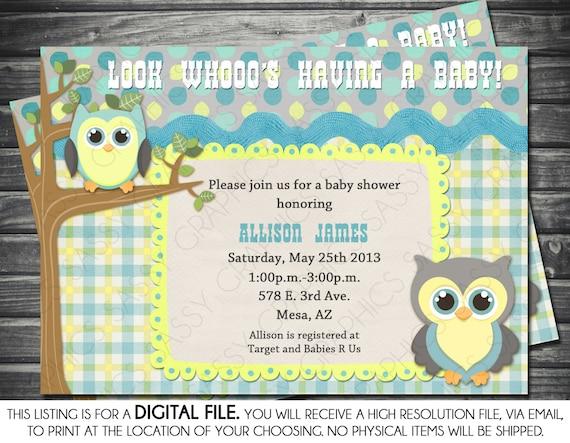 Boys baby shower invitation owl theme blue yellow gray etsy image 0 filmwisefo