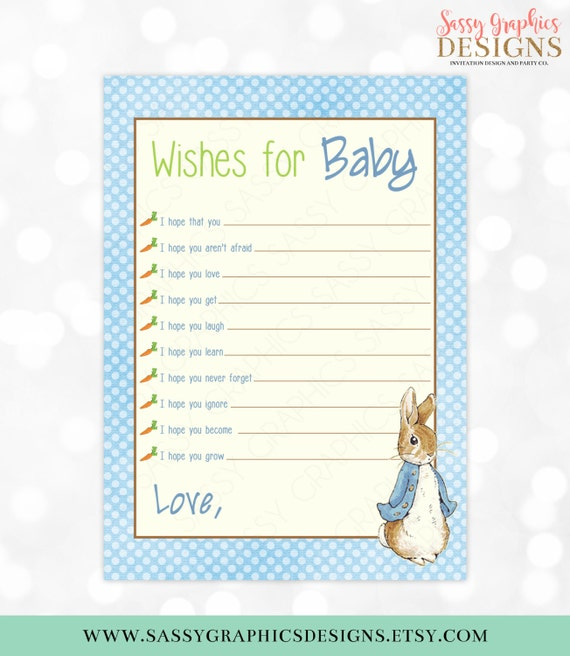 Peter Rabbit Wishes For Baby Card Well Wishes For Baby
