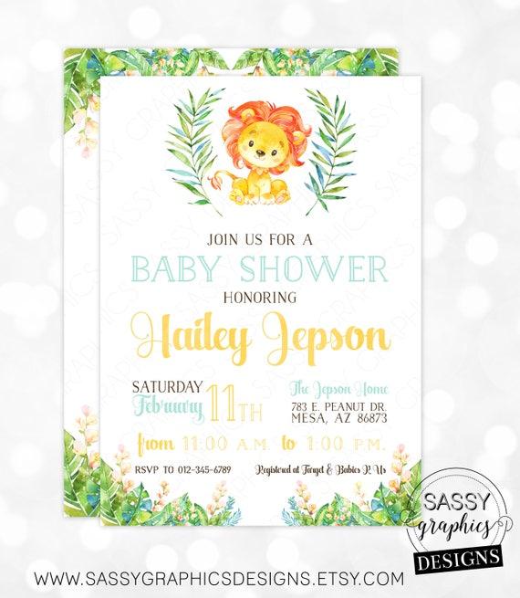 Lion Boy Baby Shower Invitation Baby Boy Invite Watercolor Lion Baby