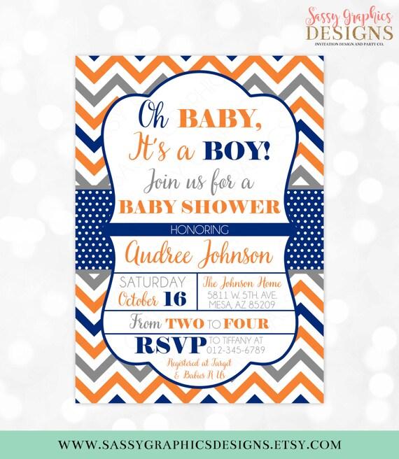 Baby Boy Shower Invitation Chevron Polka Dots Orange Navy Blue Etsy