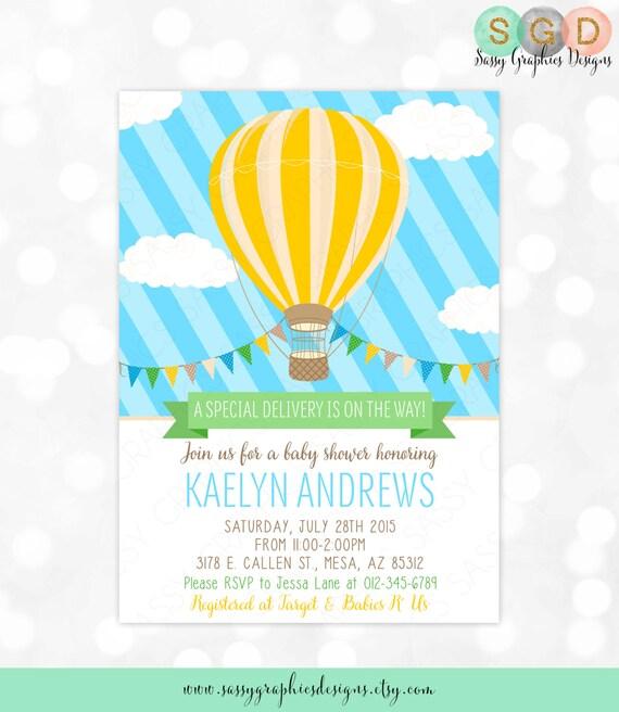 Hot Air Balloon Baby Shower Invitation Baby Boy Blue Yellow Etsy
