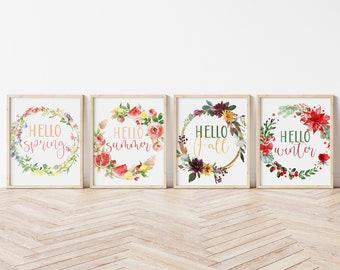 Hello Spring Print, Hello Summer Print, Hello Fall Print, Hello Winter Fall, Seasonal Home Decor, Seasonal Printable Bundle