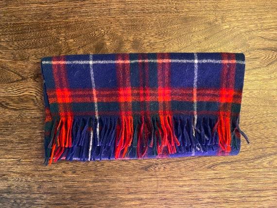 Vintage Pendleton Wool Scarf . Blue and Red . Unis