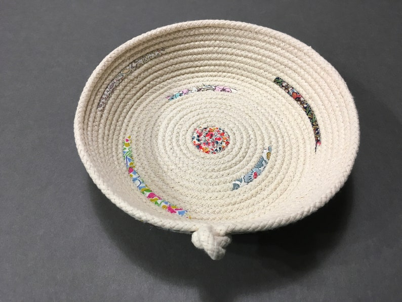 Liberty Fabric Coiled Rope Bowl Small Cotton Clothesline Etsy