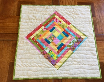 Modern Quilted Table Topper, Improv Table Topper, Fabric Table Runner, Bright Table Topper, Quiltsy Handmade