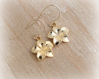 6c35715af Gold Plumeria Earrings 18k Gold Vermeil 14k Gold Filled French Ear Wire - Hawaii  Jewelry Modern Minimalist