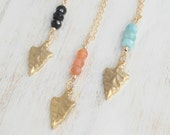 Gold Arrowhead Necklace Gemstone, 14k Gold Filled,Brass,Black Onyx, Moonstone, Blue Peruvian Opal, You choose Gem, Boho Chic Style
