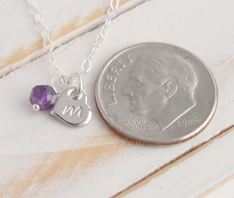Crystal necklace Amethyst Necklace Purple Amethyst Birthstone Initial Necklace Tiny Silver heart Charm and Gemstone Personalized