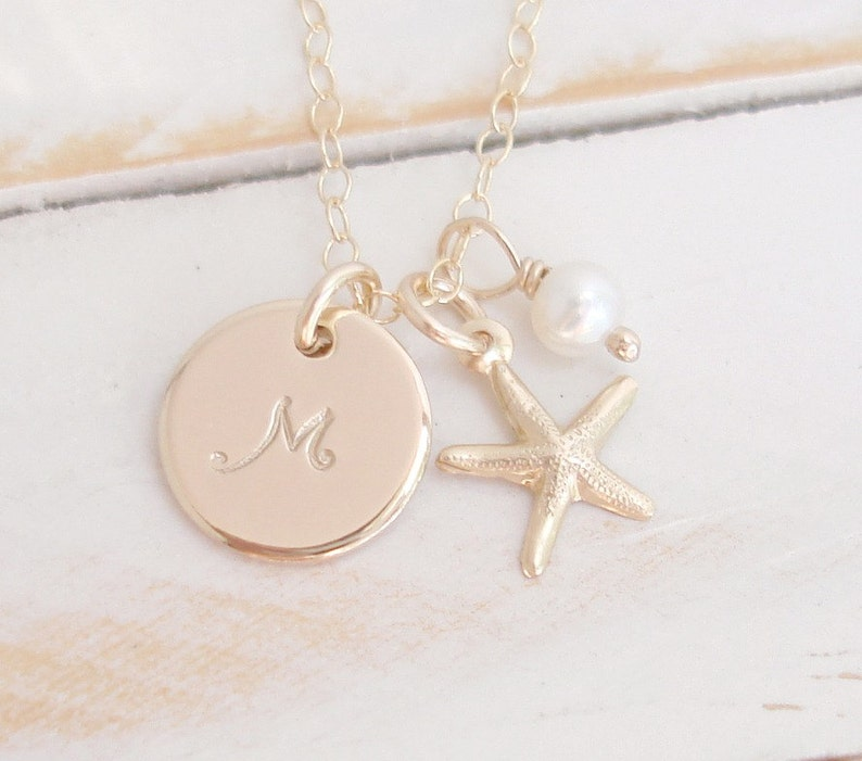 SET of 3 Bridesmaid Necklace 14k Gold Filled Personalized image 0
