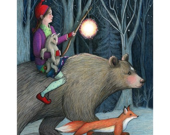 8x10 Giclee Illustrated Print, Hope, Girl with kid, bear, fox