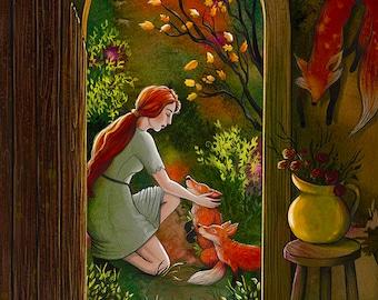 "8x10"" giclee print of the Fox Woman folk tale"