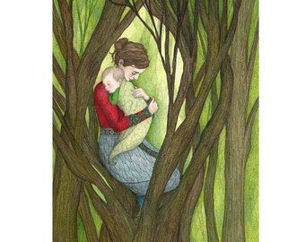 8x10 Giclee Print Mother and Child in Forest Lullaby Illustration