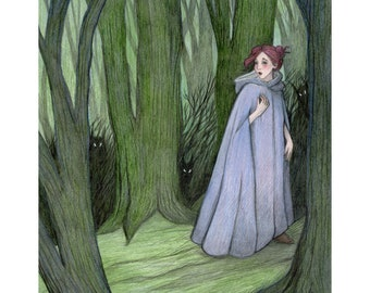 """8x10"""" Original of Girl in Woods """"Nothing to Fear"""""""