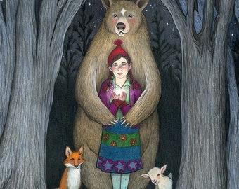 8x10 Giclee Print of Girl with Bear, Fox, Goat & Star