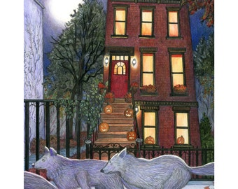 """8x10"""" giclee print of wolves in Brooklyn, """"October"""""""