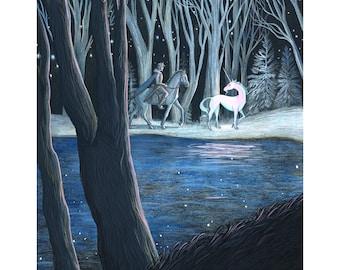 "8x10"" giclee print of Prince Lir and the Unicorn-The Last Unicorn"