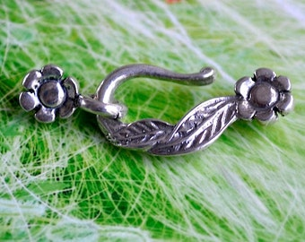 Sterling Silver Floral Hook and Eye Clasp