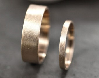 Gold Wedding Band Set, His and Hers 6mm and 2mm Brushed Flat 10k Recycled Yellow Gold Wedding Ring Set Gold Rings - Made in Your Sizes