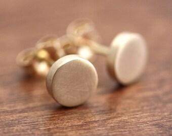 Gold Polka Dot Earrings, Geometric Modern Minimalist Brushed Recycled 14k Gold Stud Post Earrings
