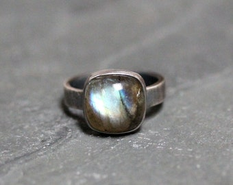 Oval cabochon Labradorite with silver signet ring in brushed and oxidized sterling silver