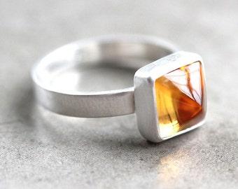 Lemon Yellow Citrine Ring, Citrus Yellow Gemstone Pyramid Brushed Sterling Silver Ring November Birthstone Geometric Jewelry - Size 5.75